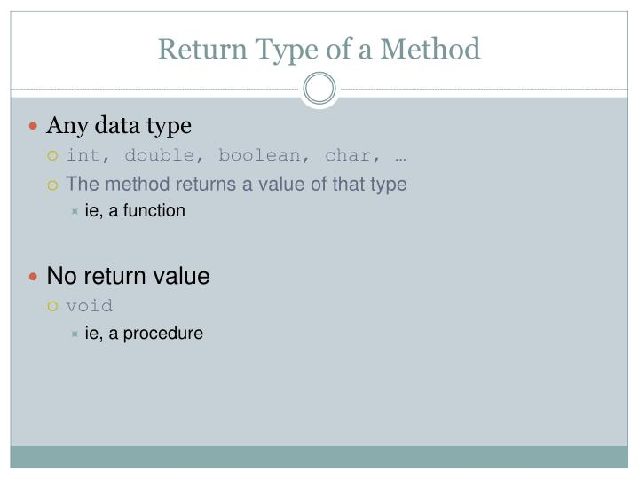 Return Type of a Method