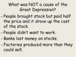 what was not a cause of the great depression