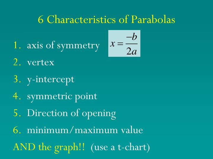 6 characteristics of parabolas