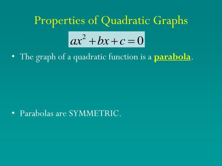 Properties of quadratic graphs