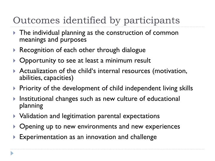 Outcomes identified by participants