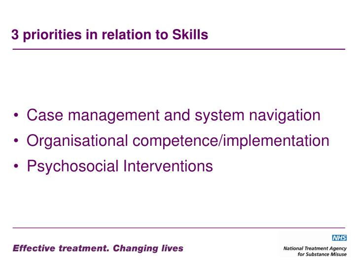 3 priorities in relation to Skills