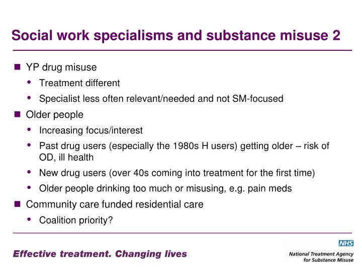 Social work specialisms and substance misuse 2