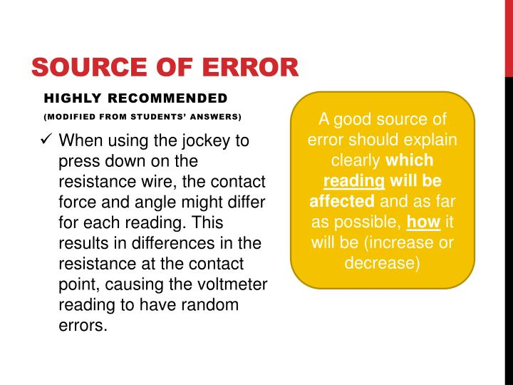 Source of error