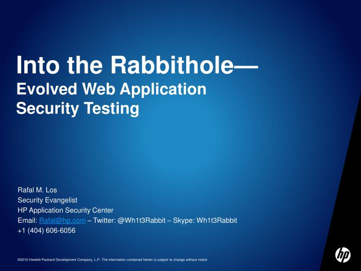 into the rabbithole evolved web application security testing n.