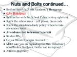 nuts and bolts continued