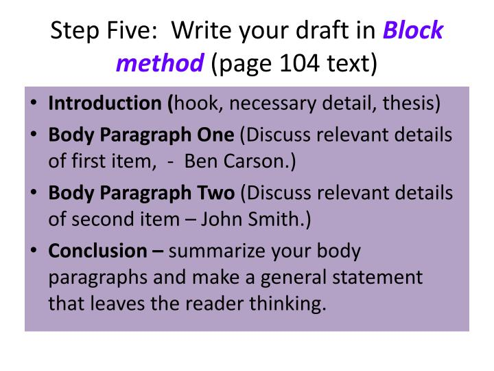 """block method essay Compare & contrast essay : compare & contrast essay using the block method to explore theme in longfellow's """"a psalm of life."""