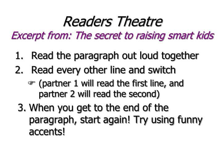 Readers theatre excerpt from the secret to raising smart kids