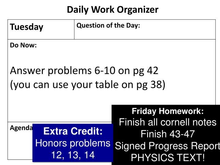 Daily Work Organizer