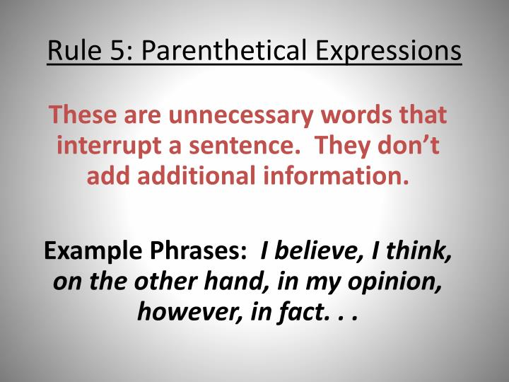 rule 5 parenthetical expressions n.
