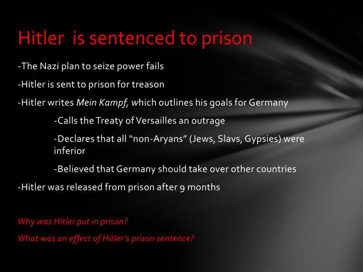 Hitler  is sentenced to prison