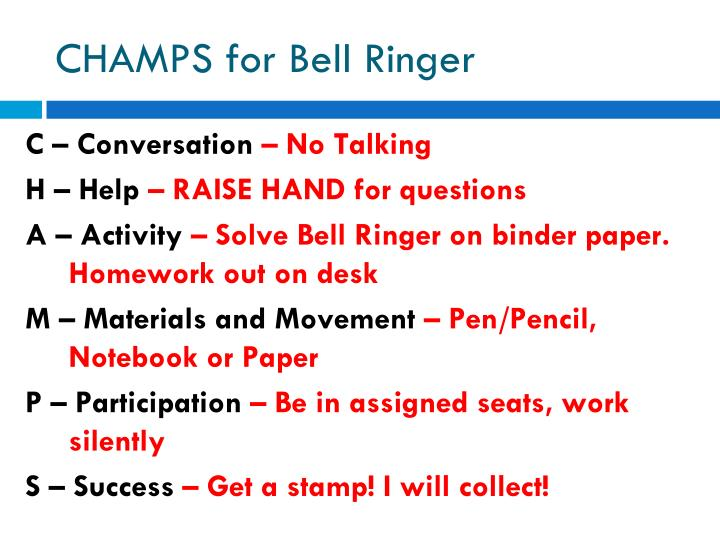 Champs for bell ringer
