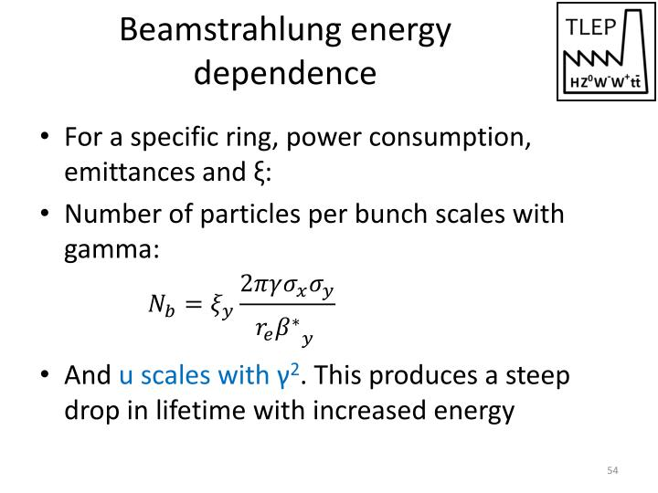 Beamstrahlung energy dependence