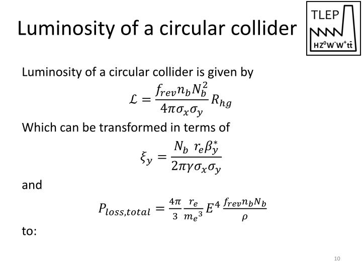 Luminosity of a circular collider