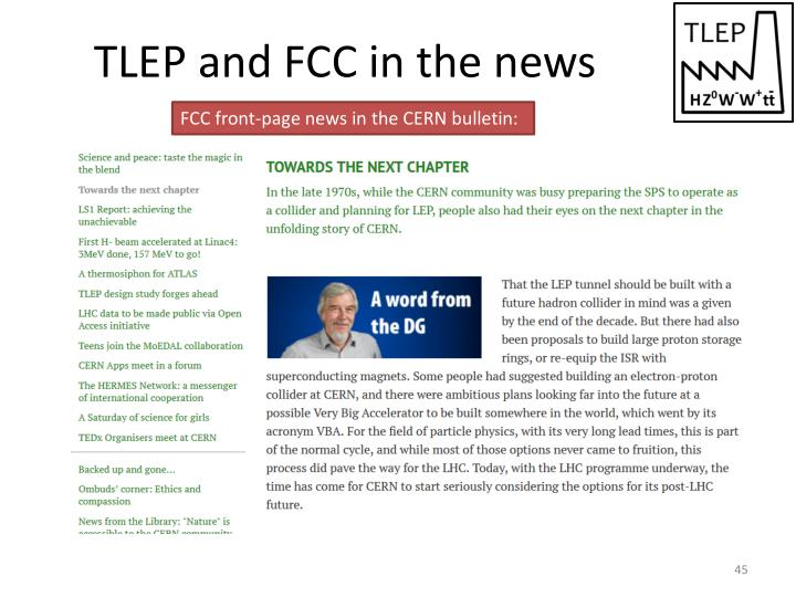 TLEP and FCC in the news