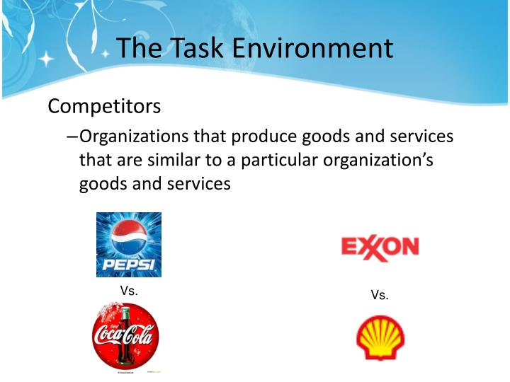 task environments of pepsico Pepsico canada is committed to providing an accessible environment in which all individuals have equal access to pepsico products and services in a way that respects the dignity and independence of persons with disabilities.