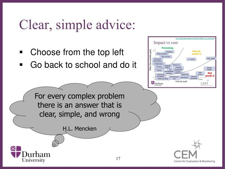 Clear, simple advice:
