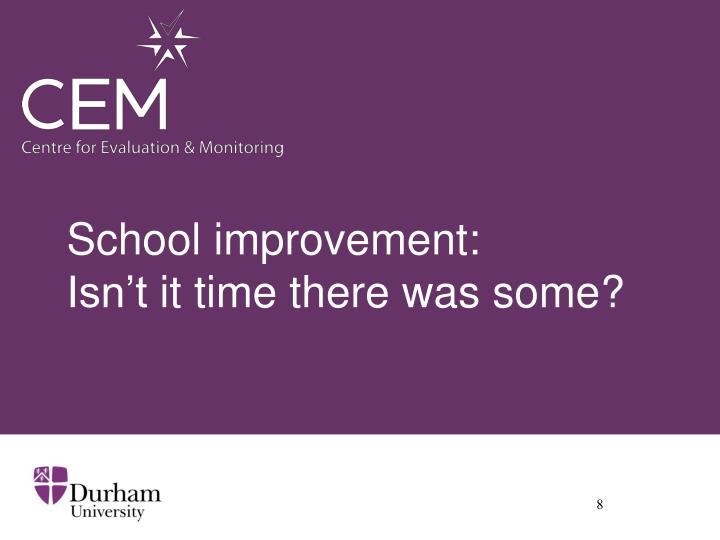 School improvement: