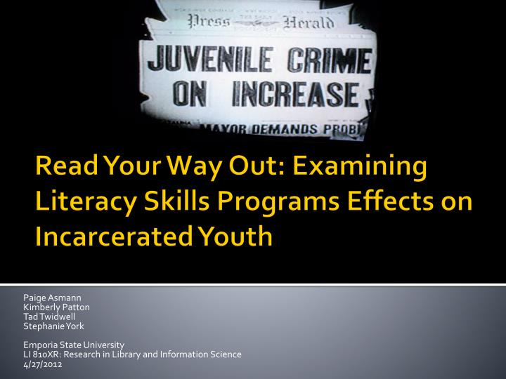 Read your way out examining literacy skills programs effects on incarcerated youth