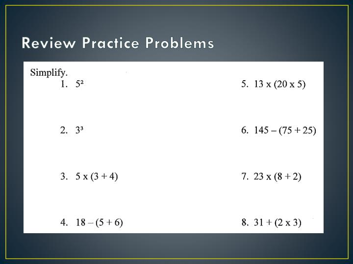 Review Practice Problems