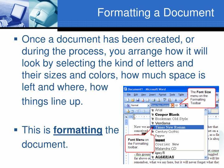 Formatting a Document