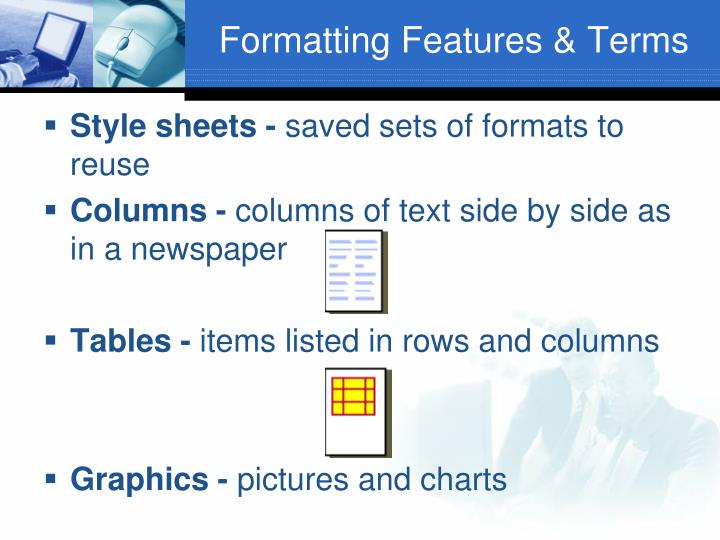 Formatting Features & Terms