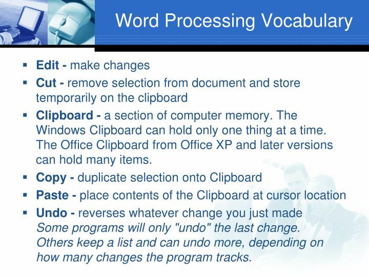 Word Processing Vocabulary