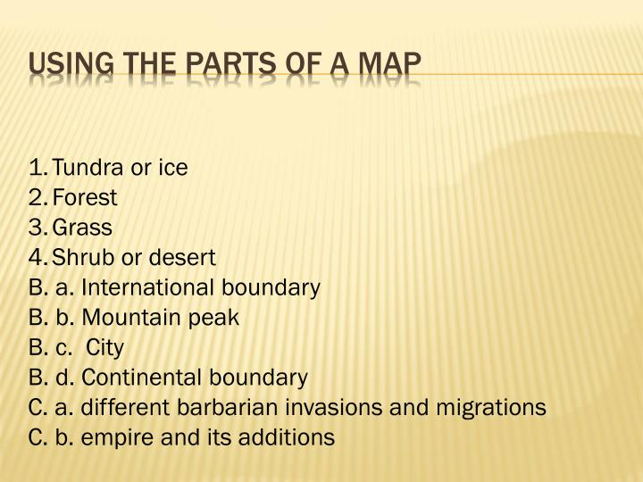 Using the parts of a map