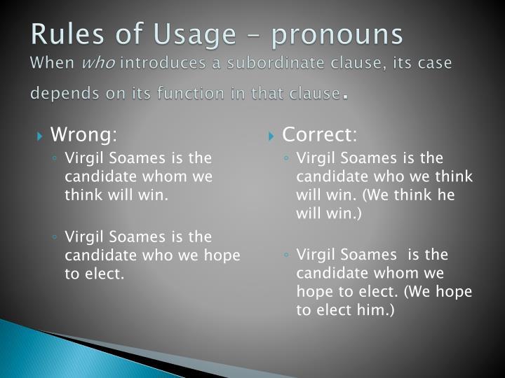 Rules of Usage – pronouns