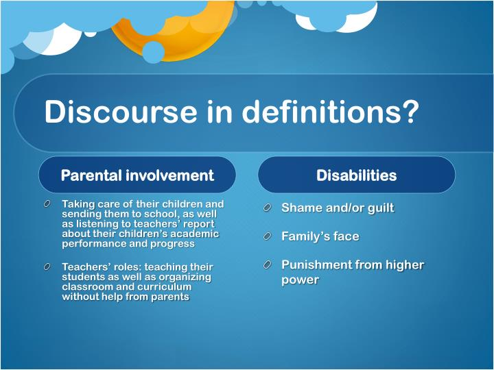 Discourse in definitions?
