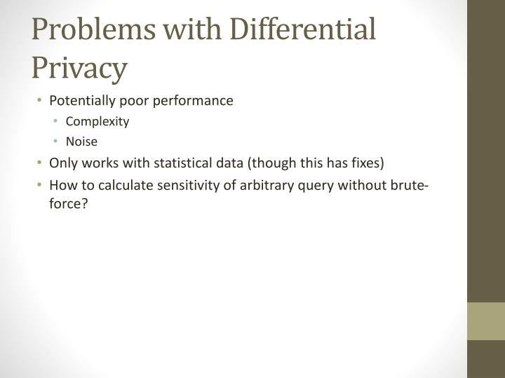 Problems with Differential Privacy