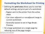 formatting the worksheet for printing1