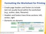 formatting the worksheet for printing4