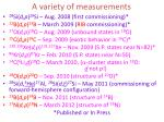 a variety of measurements
