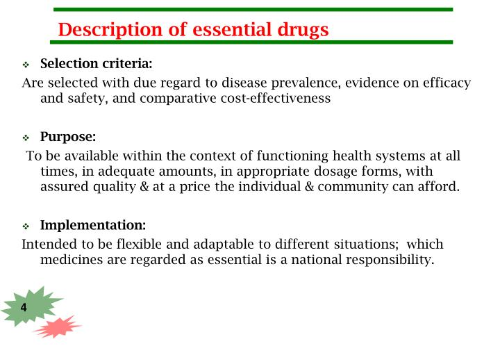Description of essential drugs