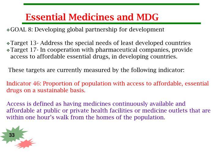 Essential Medicines and MDG