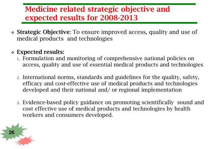 Medicine related strategic objective and expected results for 2008-2013