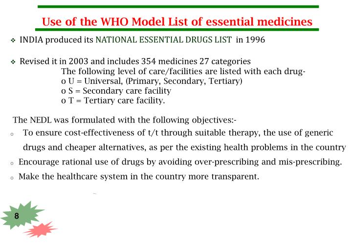 Use of the WHO Model List of essential medicines