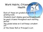 work habits citizenship and health