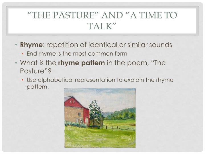 The pasture and a time to talk1