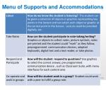 menu of supports and accommodations