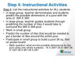 step 4 instructional activities