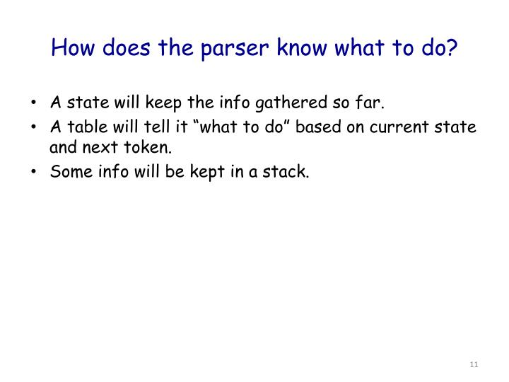 How does the parser know what to do?