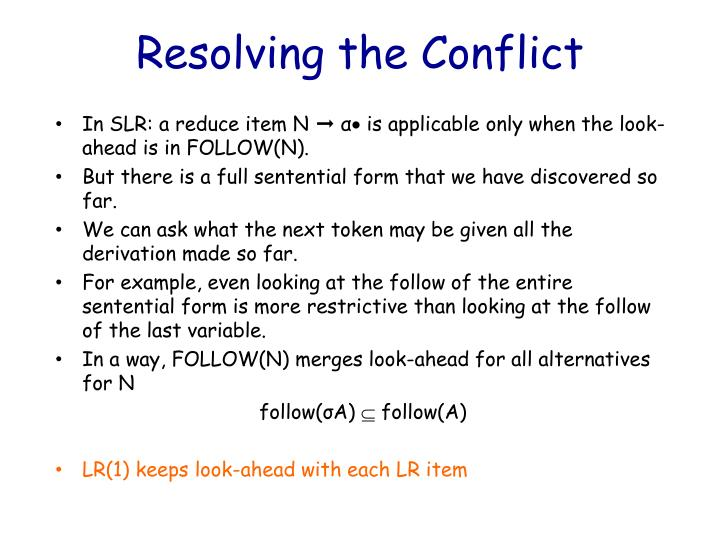 Resolving the Conflict