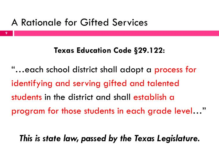 A Rationale for Gifted Services