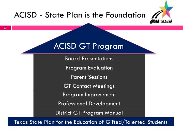 ACISD - State Plan is the Foundation