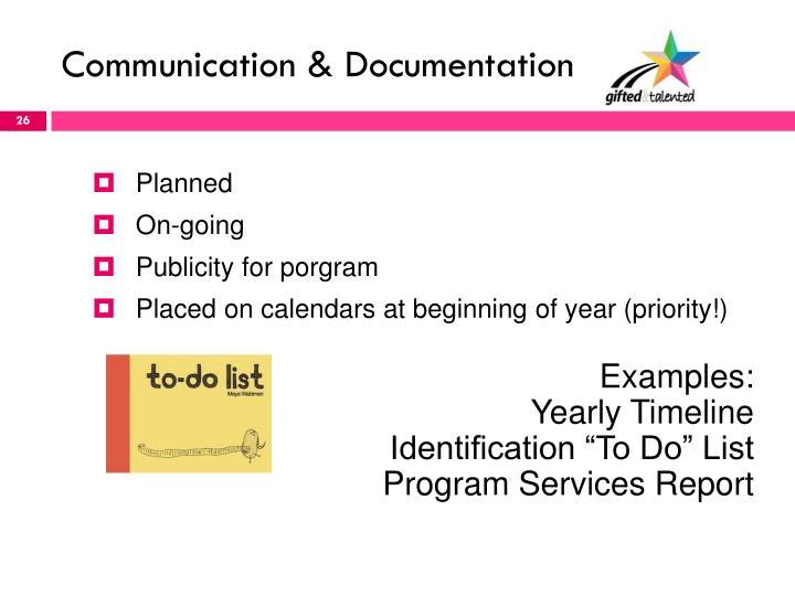 Communication & Documentation
