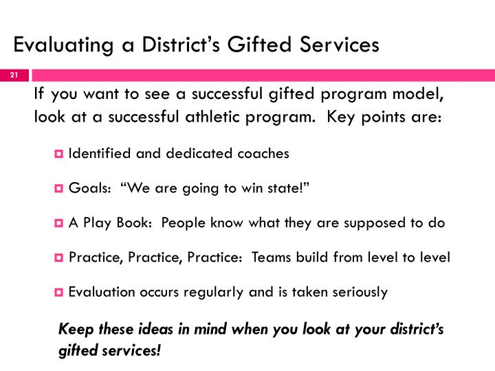 Evaluating a District's Gifted Services