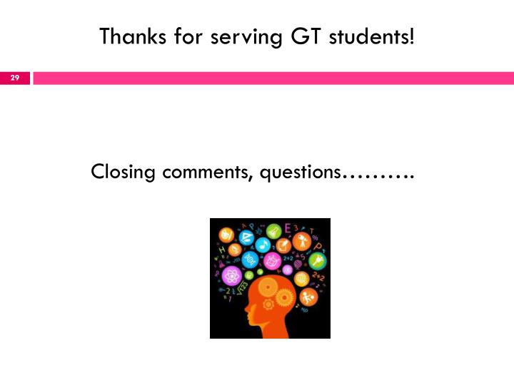 Thanks for serving GT students!