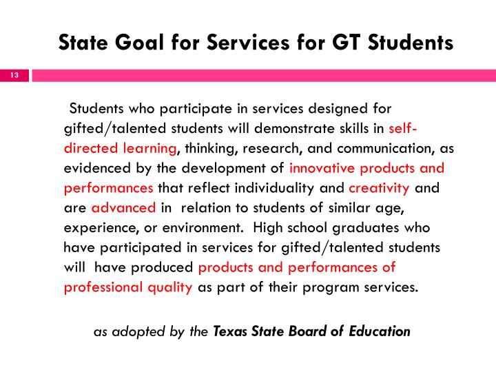 State Goal for Services for GT Students